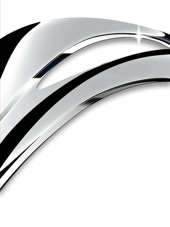 Wave of chrome on a white background