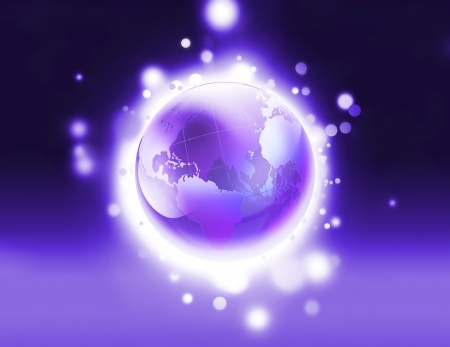 Abstract background with shiny purple world photo