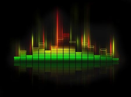 estudio de grabacion: equalizador que brilla intensamente en fondo negro