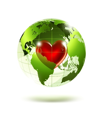 world peace: empty green planet with a red heart inside