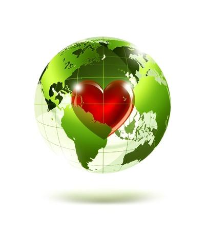 paz mundial: planeta vacío verde con un corazón rojo en el interior Foto de archivo