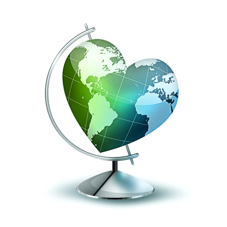 globus: Globus with the planet in the form of heart - symbol of environmental Stock Photo