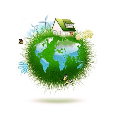 protection of land: small planet made of grass with water in the form of a world map -  idyllic ecological lifestyle