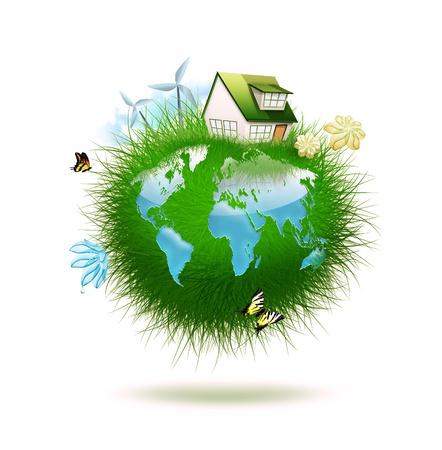 작은 행성은 세계지도의 형태로 물을 만든 잔디 - 목가적 인 생태 생활