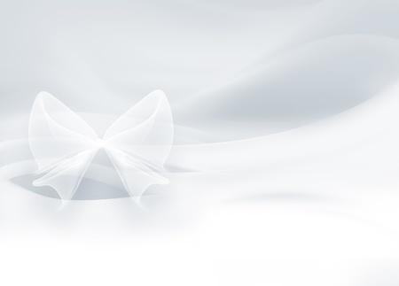 smooth curve design: sat�n blanco con un lazo como fondo Foto de archivo