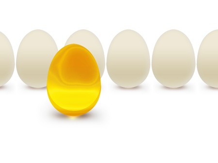 Golden egg on a background of white eggs Stock Photo - 16521212