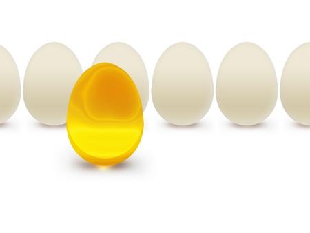 Golden egg on a background of white eggs Stock Photo - 16521212
