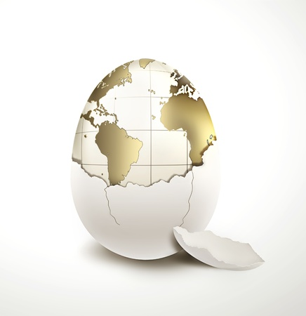 land shell: World in egg shell on a light background