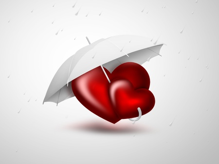 couple in rain: romantic card with two red heart under the umbrella Stock Photo