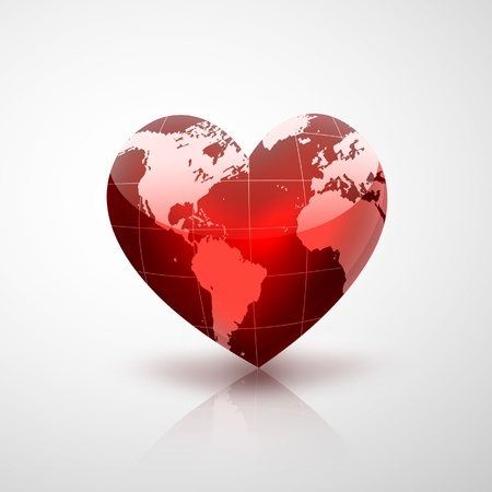protect globe: red planet in the form of heart
