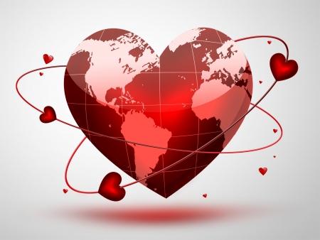 saint valentin coeur: planète rouge en forme de coeur
