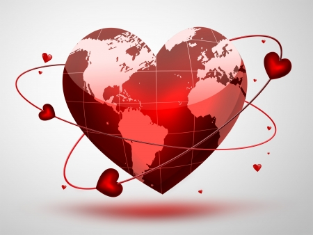 simbolo paz: planeta rojo en forma de corazón