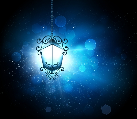 glowing lantern on a background of blur light Stock Photo