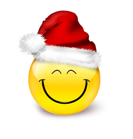 red happiness: emoticon in a hat santa