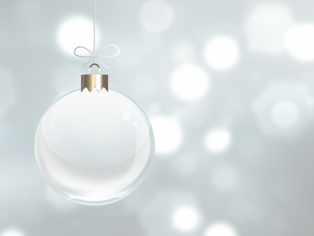 magic ball: White Christmas ball on a background blur light