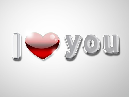 dear: I love you text with a red heart