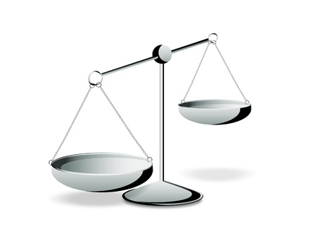 law and order: Empty silver scales on a white background