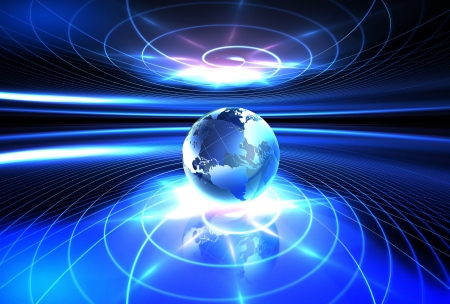 global communications: futuristic background with the world in the center