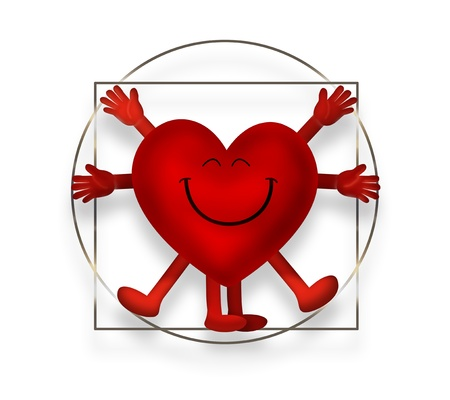 uomo vitruviano: Sorridente cuore come l'Uomo Vitruviano Archivio Fotografico