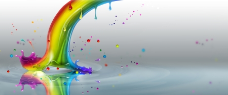 end of the rainbow splash on a light background Stock Photo