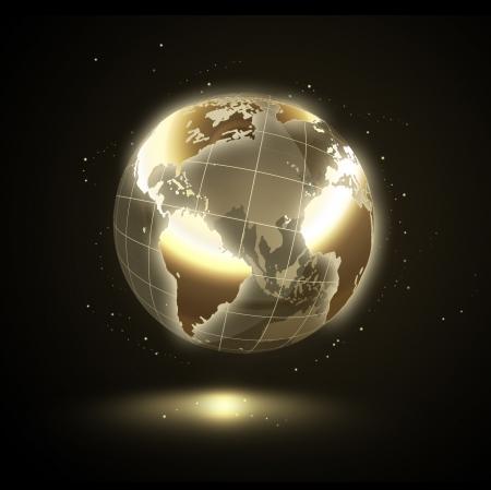 dorato: d'oro splendente mondo su uno sfondo nero