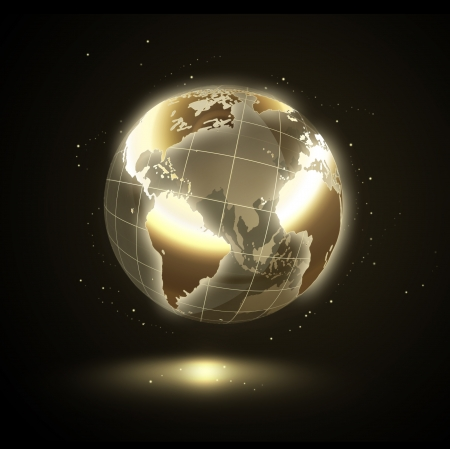 golden shining world on a black background Stock Photo - 18834433