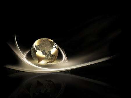 business background with golden planet against the dark photo