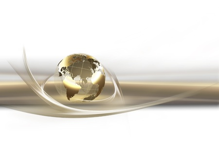 golden globe: business background with golden planet Stock Photo