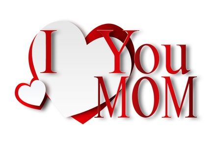 I love you Mom - with paper hearts Stock Photo