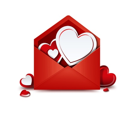 red envelope with hearts on a white background photo