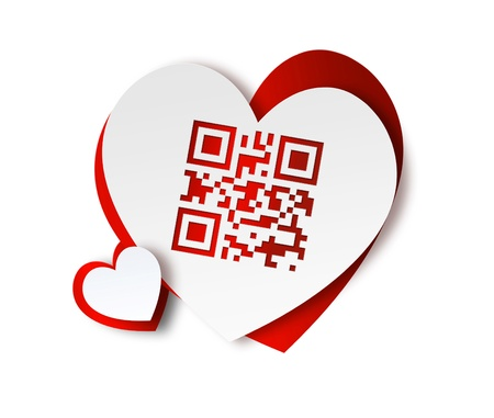qr: paper hearts with QR code - I love you Stock Photo