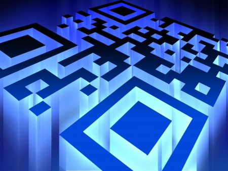 rfid: Glowing QR code - Innovative technology background