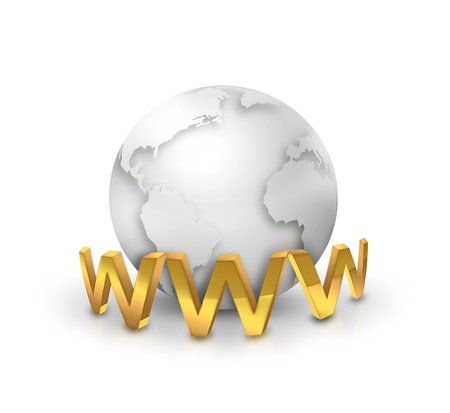 golden www text front of the silver world - Internet concept Stock Photo - 19095776
