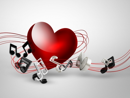popular music: music background with heart and notes