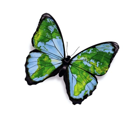 green planet: world map on the wings of butterflies - freedom concept