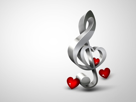 treble clef with the shape of a heart on a light background Stock Photo - 19724803
