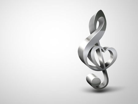treble clef with the shape of a heart on a light background photo