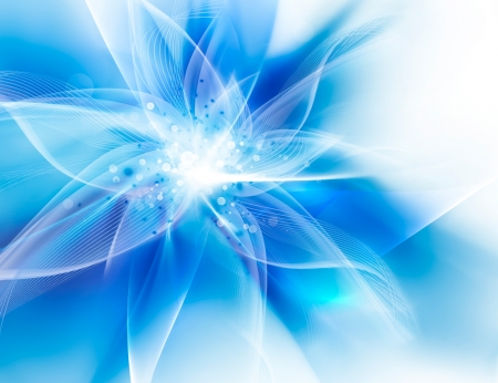 Glowing blue flower on a light background Stock Photo