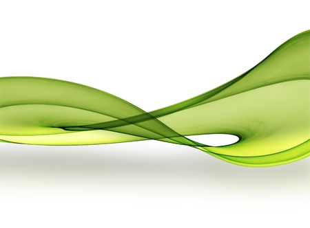 flowing: green smooth wave on a light background