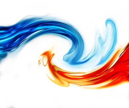 白地に青と赤の波