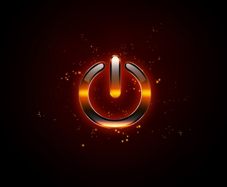 technology symbols metaphors: burning power button on a dark background