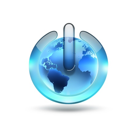 power button with the world on a white background Stock Photo