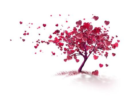 love tree with flying hearts Reklamní fotografie