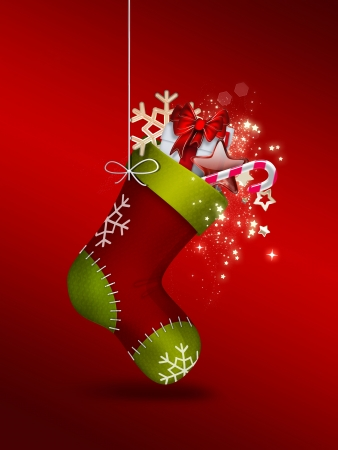 Christmas Sock with gifts - festive background photo