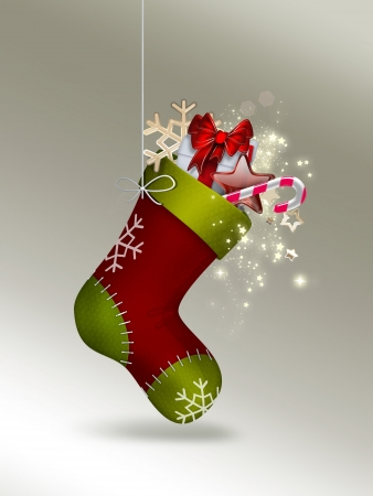 white socks: Christmas Sock with gifts - festive background