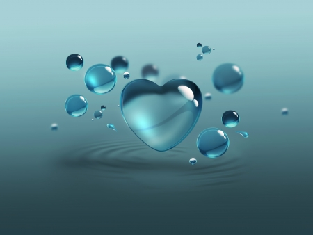 blue water drops and water-heart photo