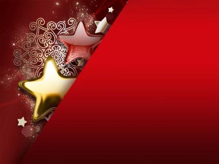 Kerstkaart met sterren en sneeuwvlokken