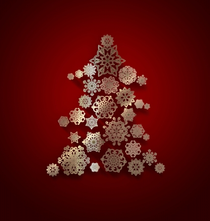 Christmas tree with golden snowflakes pattern photo