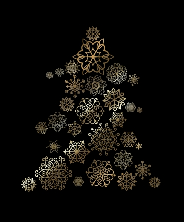 Christmas tree with golden snowflakes pattern Stock Photo - 20867409