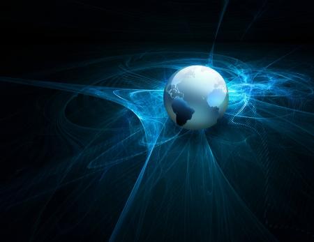 世界との未来の技術の抽象的な背景